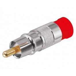 Conector RCA macho rojo compresión