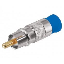 Conector RCA macho azul compresión
