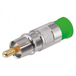 Conector RCA macho verde compresión