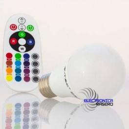 BOMBILLA LED E27 6W RGB CON MANDO