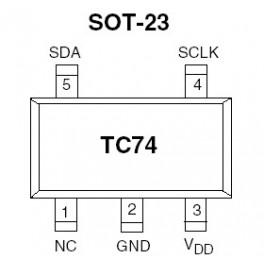 Sensor de temperatura TC74 SMD